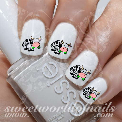 Cow Nail Art Cow Eating Grass Nail Water Decals Water Slides