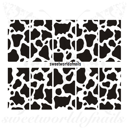 Cow Print Nail Art Full Wraps Water Slides