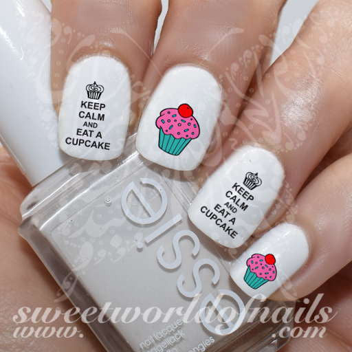Keep Calm and Eat a Cupcake Nail Art Nail Water Decals Transfers Wraps
