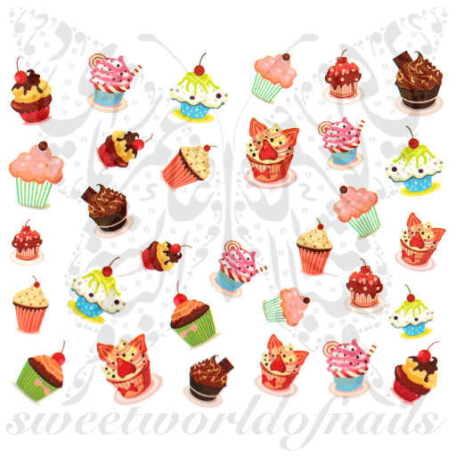 Cupcake Nail Art Nail Water Decals