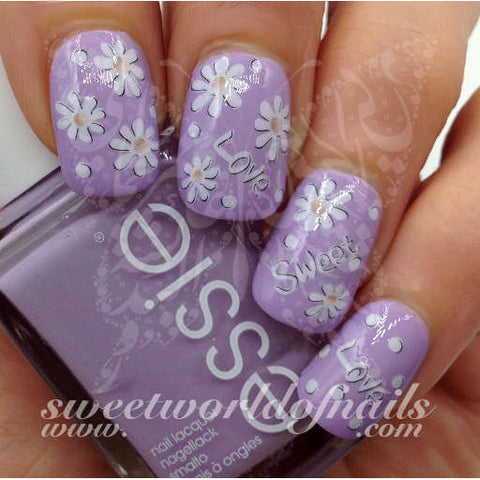 Daisy Flower Nail Art Sweet Love Nail Water Decals Wraps