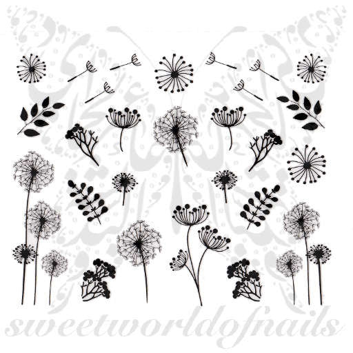 Dandelions and Leaves Nail Art Nail Stickers