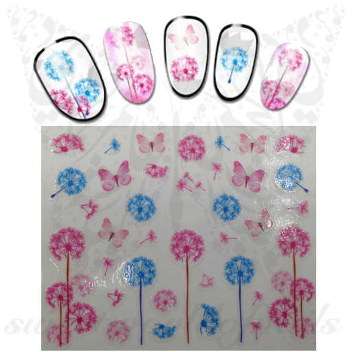 Pink and Blue Dandelion Nail Art Nail Stickers Pink Butterfly