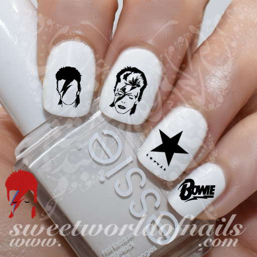 David Bowie Nail Art Nail Water Decals Transfers Wraps