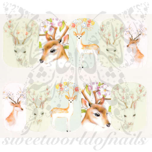 Deer Nail Art Antlers Nail Water Decals