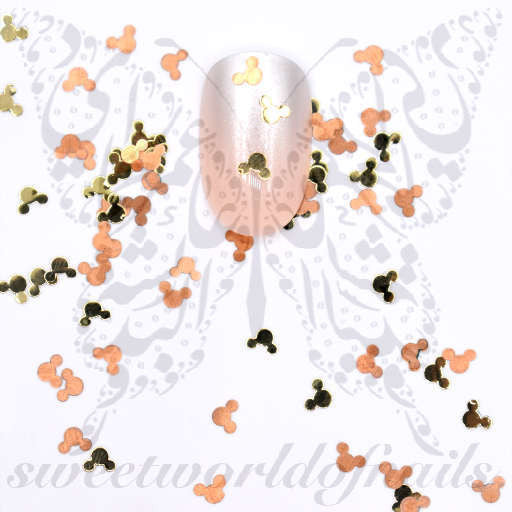 3D Mickey Mouse in Gold and Copper Thin Metallic Nail Charms