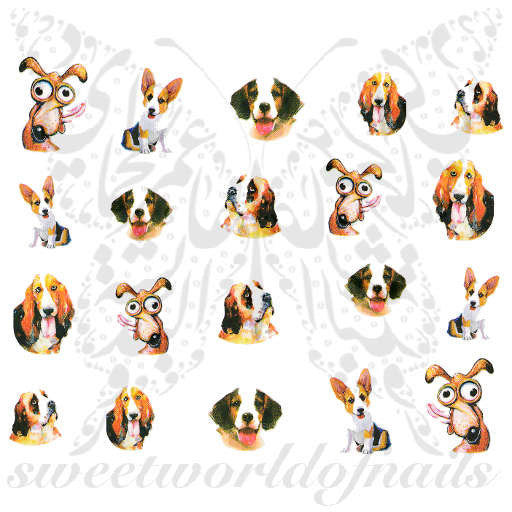 Dogs Nail Art Dogs Assortment Nail Water Decals Slides