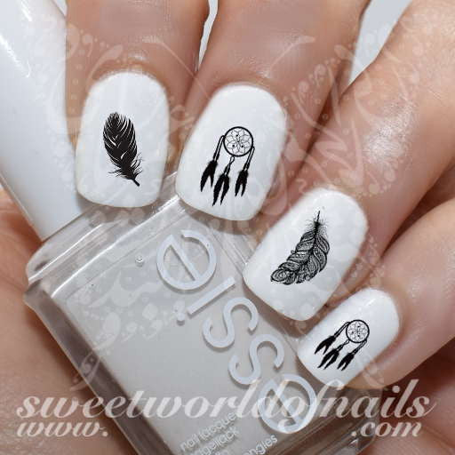 Dreamcatcher Nail Art Black Feathers Nail Water Decals Slides