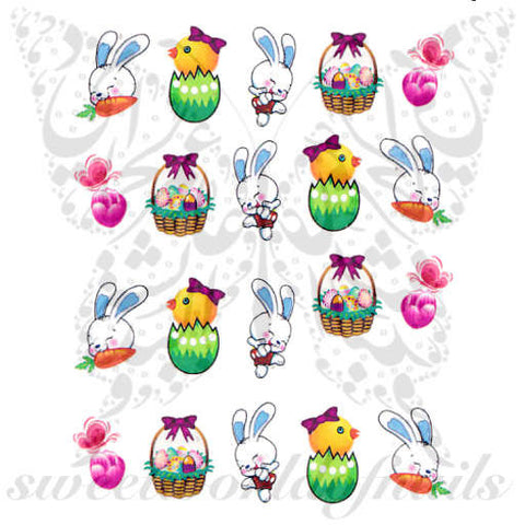 Easter Nail Art Bunny Egg Basket Chick Nail Water Decals Wraps