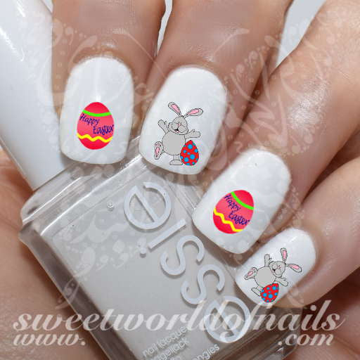 Easter Nail Art Bunny Egg Water Decals Nail Transfers Wraps