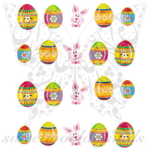 Easter Nail Art Bunny  Eggs Water Decals Nail Transfers Wraps