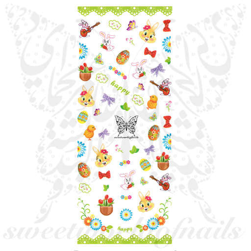 Easter Nail Art Bunny Egg Flowers Spring Ribbons Flowers Water Decals Nail Transfers Wraps