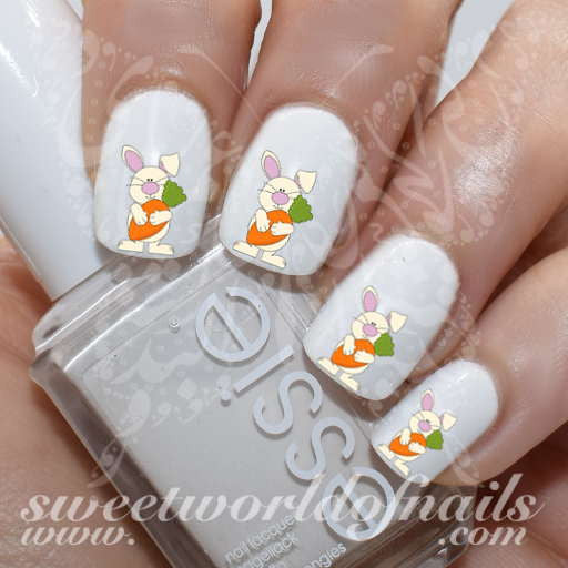 Easter Nail Art Bunny With Carrot Water Decals Nail Transfers Wraps