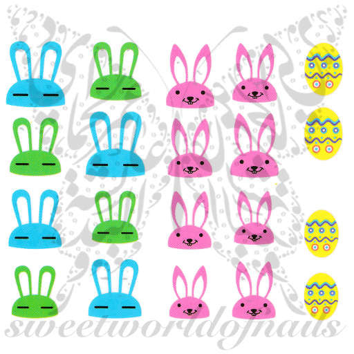 Easter Nail Art Colorful Bunnies Eggs Nail Water Decals
