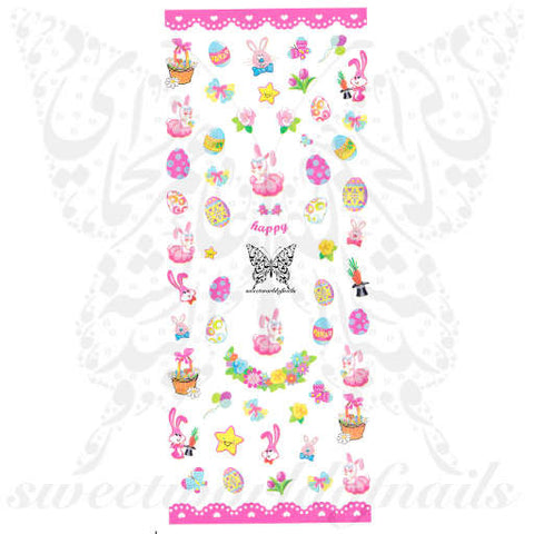 Easter Nail Art Bunny Egg Flowers Spring Flowers Water Decals Nail Transfers Wraps