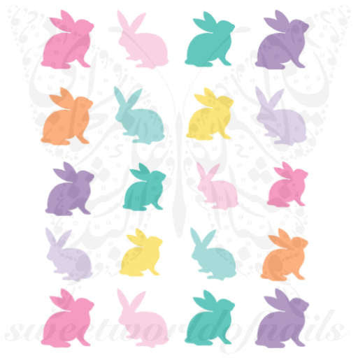 Easter Nail Art Colorful Bunny Nail Water Decals Wraps