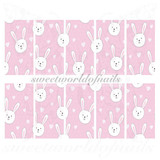 Easter Nail Art Easter Bunny Nail Full Water Wraps