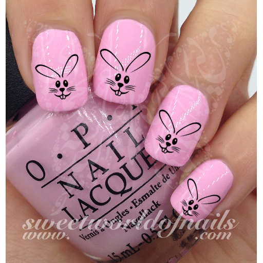 Easter Nail Art Easter Bunny Rabbit Nail Water Decals Wraps