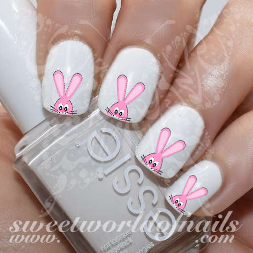 Easter Nail Art Pink Bunny Nail Water Decals Wraps