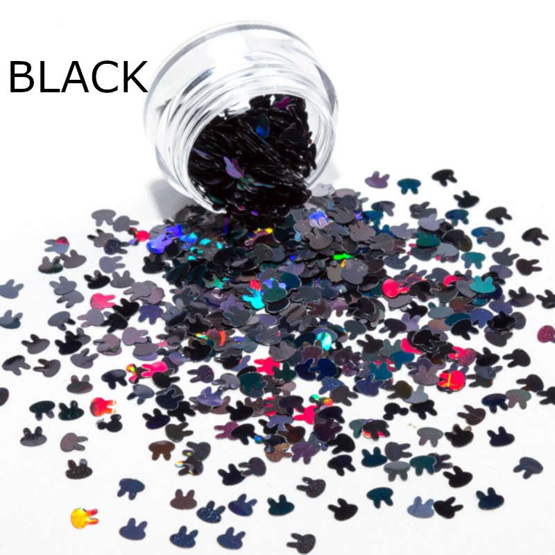Black Easter Nails Bunny Rabbit Confetti Glitter Nail Decoration