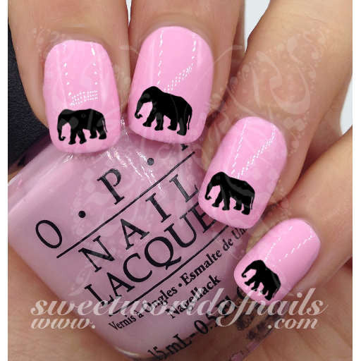Black Elephant Nail Art Nail Water Decals Transfers Wraps