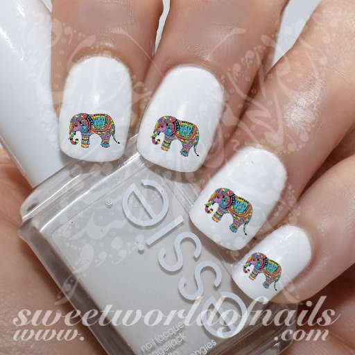 - Indian Elephant Nail Art Nail Water Decals Transfers Wraps