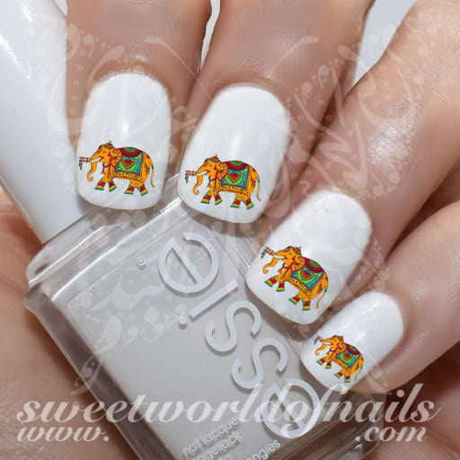 Indian Elephant Nail Art Nail Water Decals Transfers Wraps