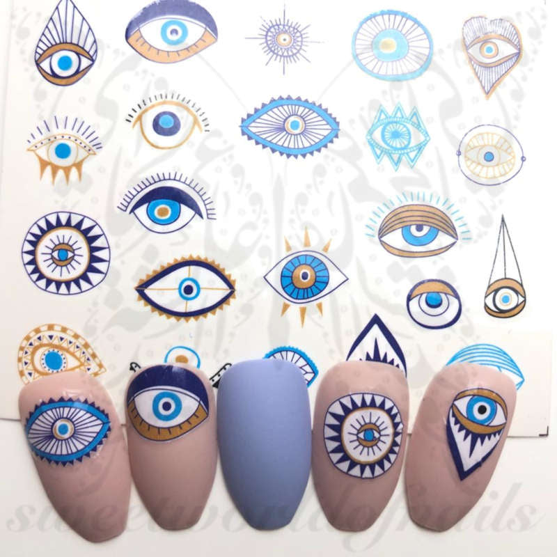 Evil Eye Nail Art Blue Eye Nail water decals