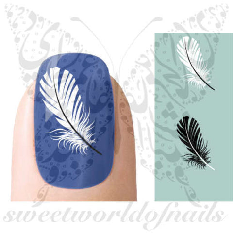 Black And White Feathers Nail Art Nail Water Decals Transfers Wraps