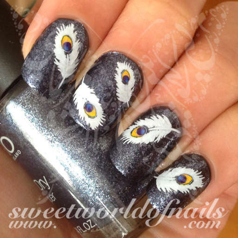 Feather Nail Art White Peacock Feathers Nail Water Decals Water Slides