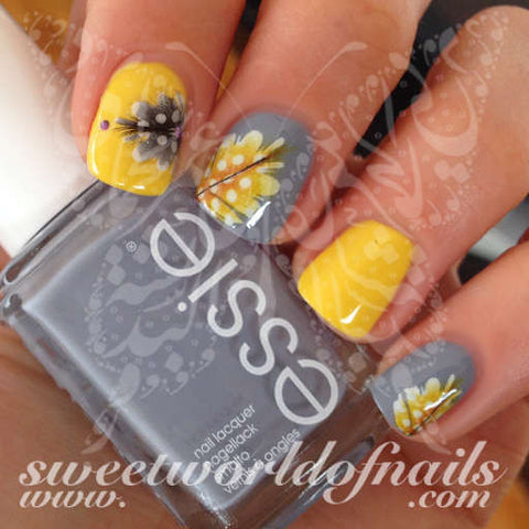 Feather Nail Art Yellow or Grey Feathers Nail Water Decals Water Slides