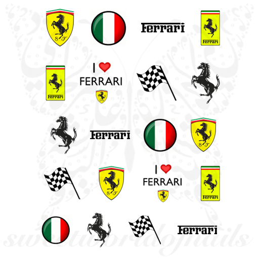 Ferrari Nail Art Italian Flag Nail Water decals