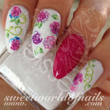 Purple Pink Flowers Leaves Nail Art Water Decals Transfers Wraps