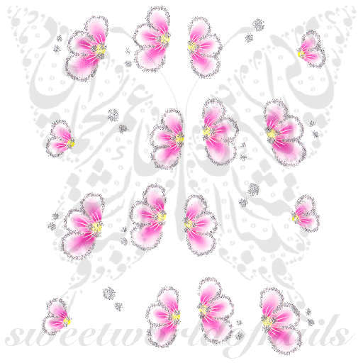 Glittery Pink Flower Nail Art Nail Water Decals Slides