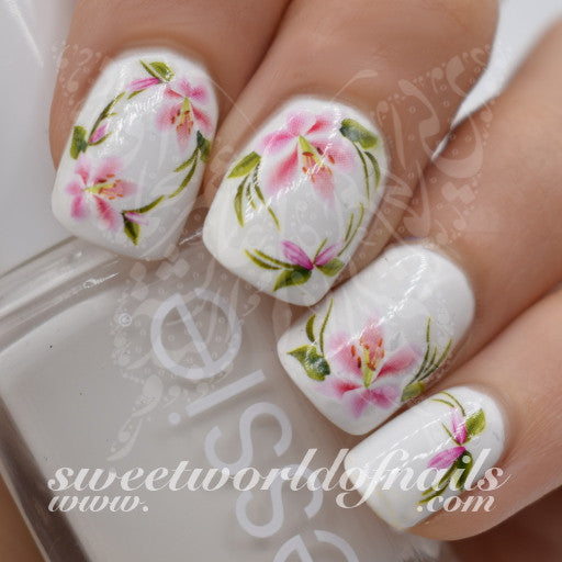 Flower Nail Art Pink Flower Nail Water Decals Wraps