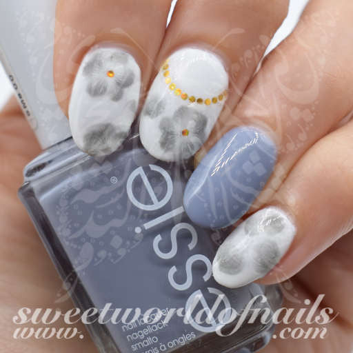 Flower Nail Art Gray Watercolor Nail Water Decals Slides