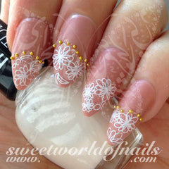 Flower nail art white flower nail water decals water slides prinsesfo Image collections