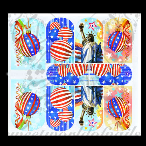4th of July Nail Art Statue of Liberty USA Nail full wraps