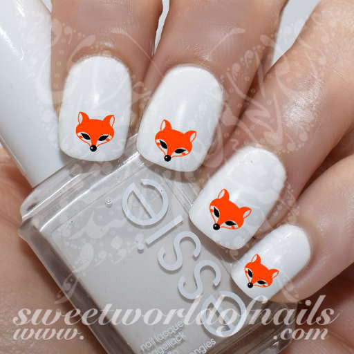 Fox Nail Art Cute Fox Face Nail Water Decals Water Slides