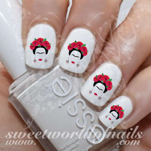Frida Kahlo Nail Art Nail water decals transfers