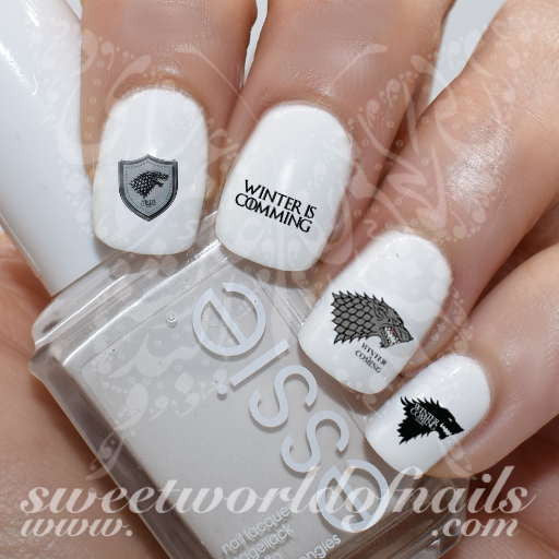 Game of Thrones Nail Art House Stark Nail Water Decals