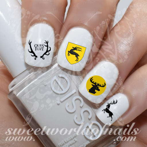 Game of Thrones Nail Art House of baratheon Nail Water Decals