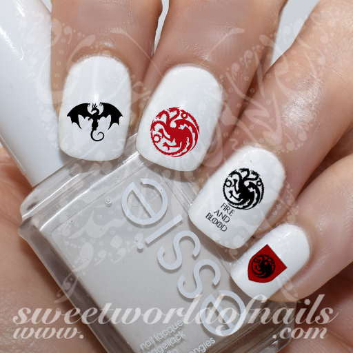 Game of Thrones Nail Art house of targaryen Water Decals