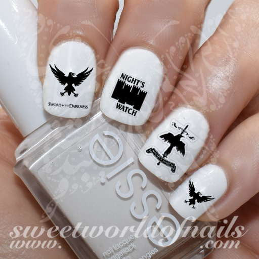 Game of Thrones Nail Art Night's Watch Nail Water Decals