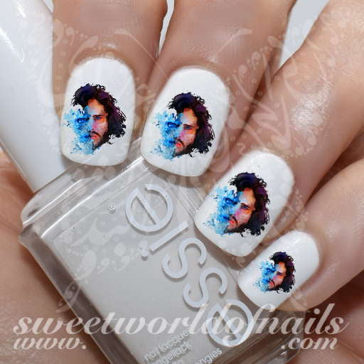 Game of Thrones Art Nail Jon Snow White Walker Water Decals
