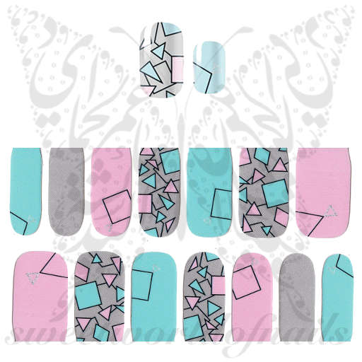 Geometric Nail Art Full Nail polish wraps stickers