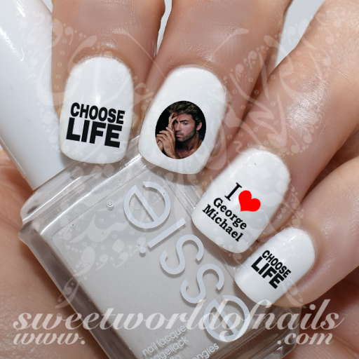 George Michael Nail Art Water Decals Choose Life Water Slides