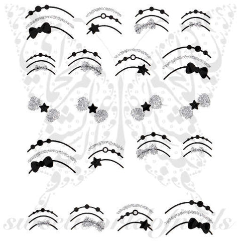 Black Bow Star Glittery Bow Nail water Decals Transfers wraps