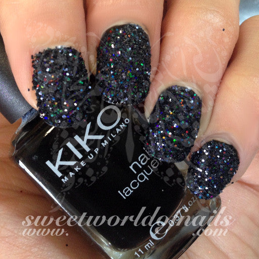 Nail Glitter Black Sparkle Glitter Dust Powder Nail Art