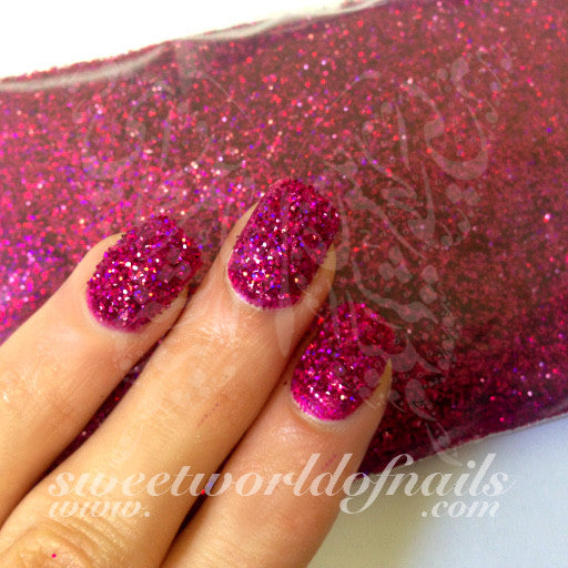 Nail Glitter Hot Pink Sparkle Glitter Dust Powder Nail Art 1